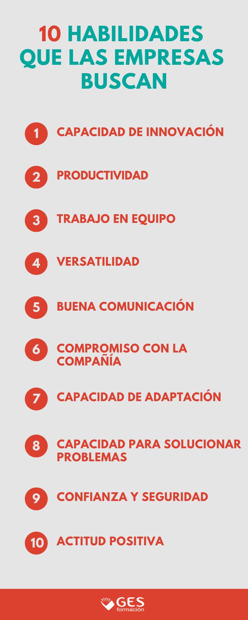 10 habilidades que las empresas buscan